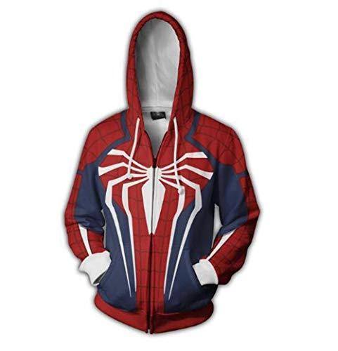 Unisex Reißverschluss Hooded Sweatshirt 3D Spiderman Printed Kapuzenpulli Langarm Hoodie XXL