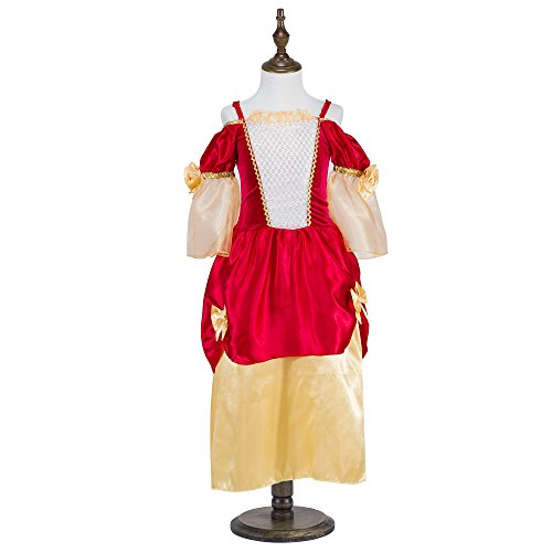 Katara 1763-128/134 – Kinder Mädchen-Kostüm Burgfräulein Kleid – Mittelalter Verkleidung Prinzessin Königin Geschenk zu Karneval, Fasching, Ritterfest – 128/134, Rot-Gold - 3
