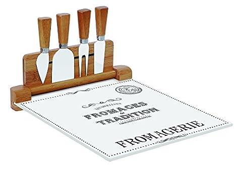 R2S 848DEGO Délices des Gourmet Plateau Fromage/4 Couteaux Verre Blanc