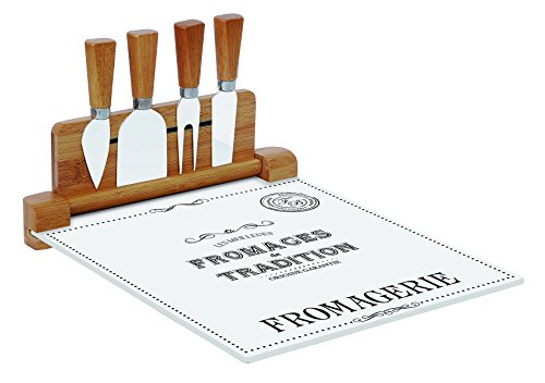 Easy Life 848DEGO Coffret Plateau Fromage, Verre, Blanc, 30 x 25 x 15 cm