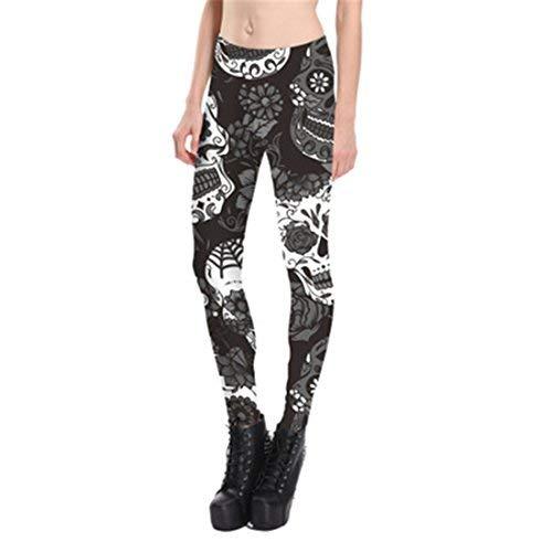Schwarz Weiß Floral Schädel 3D Gedruckt Leggings Bleistift Hose Für Frauen S