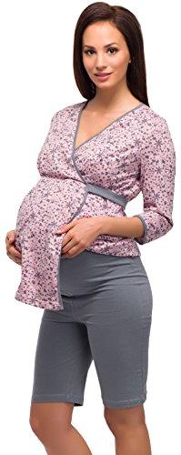 Be Mammy Vêtements Maternité Ensemble de Pyjama Alyse Gris/Rose