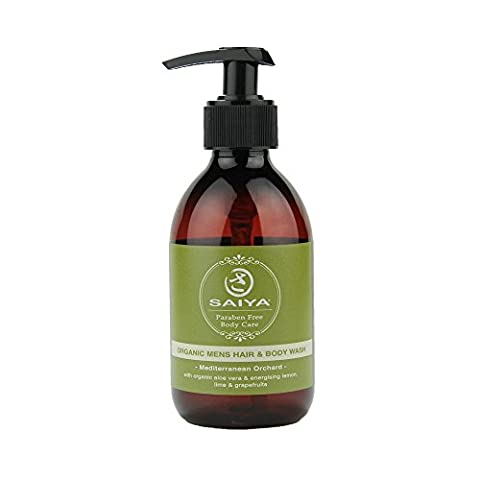 All Natural Organic Mens Hair & Body Shower Gel By Saiya | 100% Natural Fragrance Of Citrus Essential Oils | Sulfate & Paraben Free 250ml Pump
