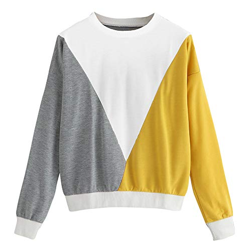 Qmber Damen Shirts Tops Elegant Pullover Frühling Herbst Langarm Mädchen Basics Pulli Bluse Oberteile Sweatshirt Casual Rundhals Colorblock Farbpullover zum Anziehen/MR,L - Colorblock-pullover-kleid
