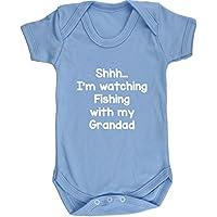 Hippowarehouse Shhh… I'm Watching Fishing With My Grandad Baby Vest Bodysuit (Short Sleeve) Boys Girls