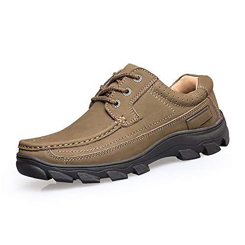 FHTD Herren Lederschuhe Low Rise Anti-Rutsch-Trekking-Und Wanderschuhe Wasserdichte Walking Klettern Sneakers Größe 6-10,Khaki,44 -