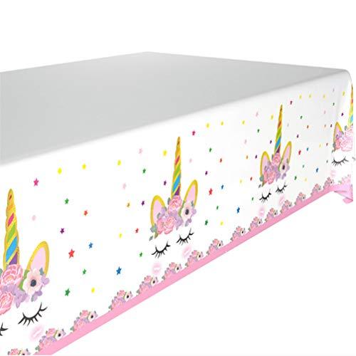 Toporchid Einhorn Party Dekoration Happy Birthday Party Supplies für Mädchen Kinder Kind (Einhorn Thema Tischdecke (1))