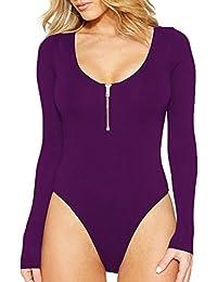 HAHAEMMA Femmes Sexy Zip Front Manches Longues Slim Body Justaucorps  Léotard Jumpsuit f3d819ead9f