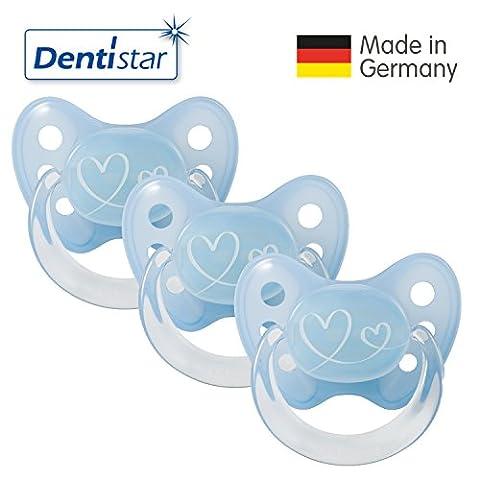 Dentistar® 3er Set Latex-Schnuller - Größe 1 von Geburt an, 0-6 Monate - Nuckel zahnfreundlich Naturkautschuk für Neugeborene Babys, Herzen