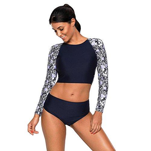 Kostüm Schwimmen Körper Langer - Luziang Damen Schwimmen Kostüm Beachwear,T-Shirt mit Langen Ärmeln und Brust Mat Körper Badeanzug