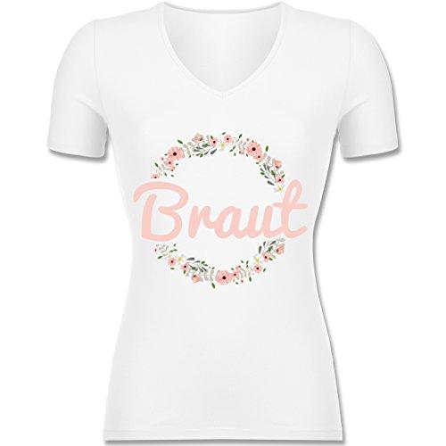 JGA Junggesellinnenabschied - Braut Blumenkranz rosa - M - Weiß - XO-1525 - Tailliertes T-Shirt mit V-Ausschnitt für Damen