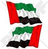 VEREINIGTE ARABISCHE EMIRATE Wehende Flagge, Fahne VAE Dubai, Abu Dhabi 75mm Auto & Motorrad Aufkleber, x2 Vinyl Stickers (Links - Rechts)