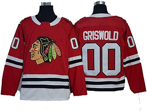 GUAN Chicago Blackhawks # 00 Eishockey, NHL Männer Pullover Für Damen T-Shirt Kleidung,Rot,L