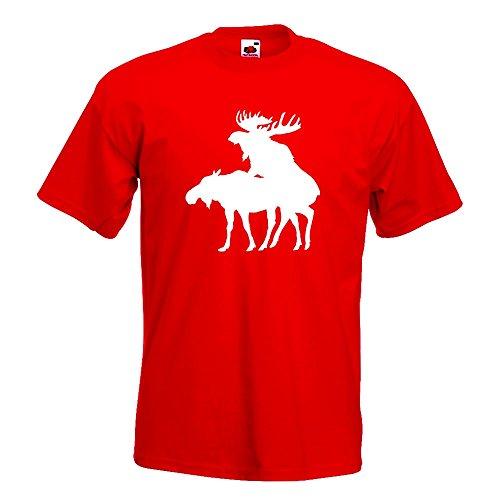 KIWISTAR - Elche Kopulierend T-Shirt in 15 verschiedenen Farben - Herren Funshirt bedruckt Design Sprüche Spruch Motive Oberteil Baumwolle Print Größe S M L XL XXL Rot