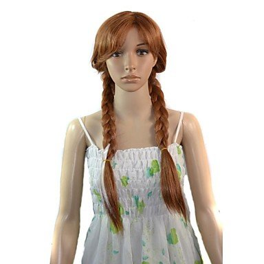 HJL-Cartoon long anna princesse cosplay perruque synth¨¦tique , 28 inch