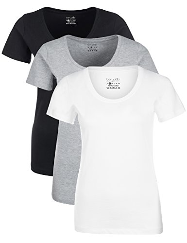 Berydale Damen T-Shirt für Sport & Freizeit, Rundhalsausschnitt 3er Pack Schwarz/Weiß/Grau, M