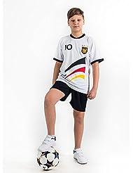 Weihnachtsgeschenk Fußball Trikot-Set Trikot Kinder 4 Sterne Deutschland WUNSCHNAME Nummer Geschenk Größe 98-170 T-Shirt Weltmeister 2014 Fanartikel EM WM
