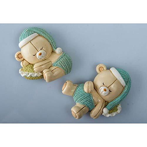 12 pz calamita magnete resina orso orsetto celeste bomboniera bambino