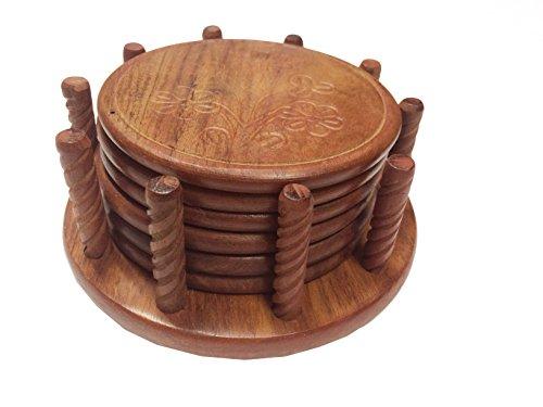Hölzerne Handarbeit Set von 6 Coaster, Tee Coaster Cutter Arbeit, Kaffee Untersetzer, Bierdeckel - 4 X 4 Zoll