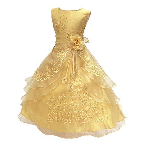 �dchen Prinzessin Kleid Blumenmädchen Stickerei Kleider Festlich Hochzeit Brautjungfern Kleidung 104 110 128 140 152 164 (Gold Weihnachten Kleider)