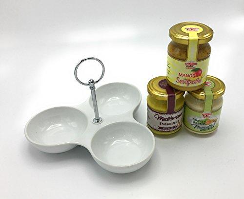 Dipschale aus Porzellan mit Senfsoße, Meerrettich & Brotaufstrich