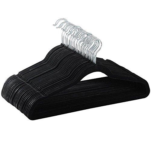 Yahee 100 x perchas traje de terciopelo antideslizante percha Negro