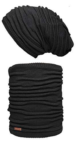 Hilltop - set invernale composto da sciarpa e berretto in maglia coordinato/beanie con pompon/in diversi colori, nero