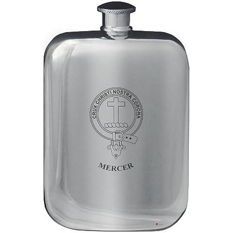 Mercer Family Crest Design Pocket Hip Flask 6oz Rounded Polished Pewter