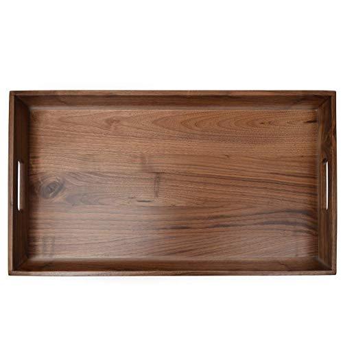 Glitz Star Extra Large Rectangle 60 x 33cm Walnut Wood Food Tea Trays Decorative Square Serving Tray