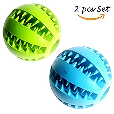 Feixun Pets Dog Treat Toy Ball, Rubber Dog Food Ball,Dog Tooth Cleaning Toy Ball, Interactive Dog Toys
