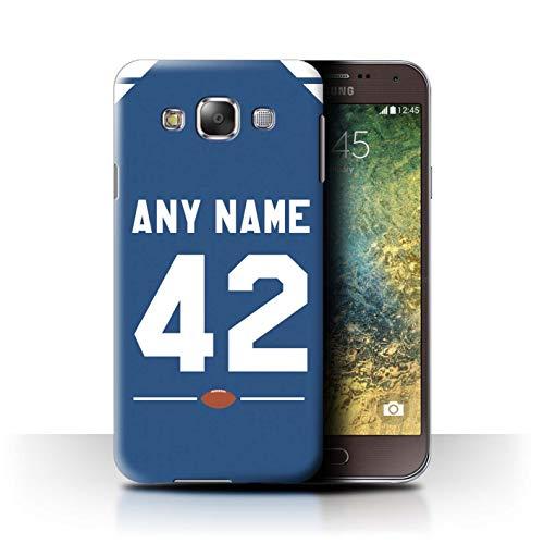 eSwish Personalisiert Individuell Amerikanischer Fußball Jersey 2 Hülle für Samsung Galaxy E5/E500 / Blau/Weiss Design/Initiale/Name/Text Schutzhülle/Case/Etui