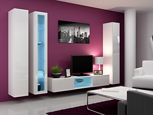 Wohnwand mit Glasvitrine weiß matt / weiß Hochglanz