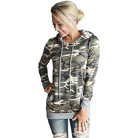 Fortan Womens camuffamento stampa Pocket con cappuccio Felpa con cappuccio Pullover supera la camicetta