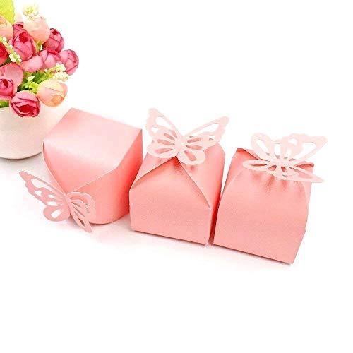Jzk 50 farfalla rosa scatola portaconfetti portariso scatolina bomboniera segnaposto per matrimonio compleanno battesimo nascita laurea natale