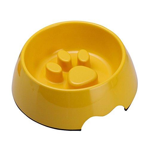 UKDEALS Medium Yellow Melamine Anti-Gulping Non Skid Dog Puppy Cat Pet Bowl Pet Feeding Watering Supplies