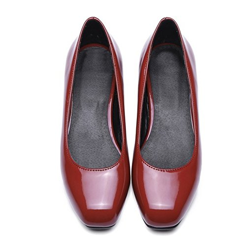 COOLCEPT Damen Komfort Flach Schuhe Geschlossene Pumps Slip On Wine Red