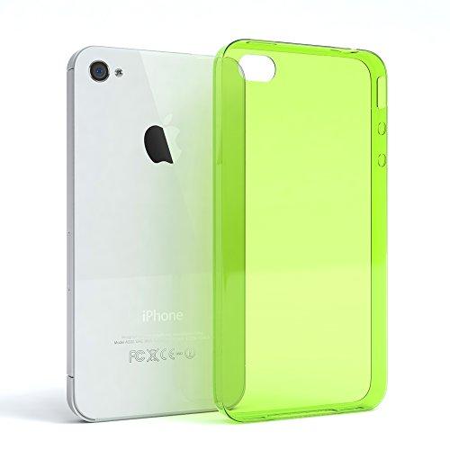 "EAZY CASE Handyhülle für Apple iPhone 4S, iPhone 4 Hülle - Premium Handy Schutzhülle Slimcover ""Clear"" - Transparentes Silikon Backcover in Klar / Durchsichtig Grün"