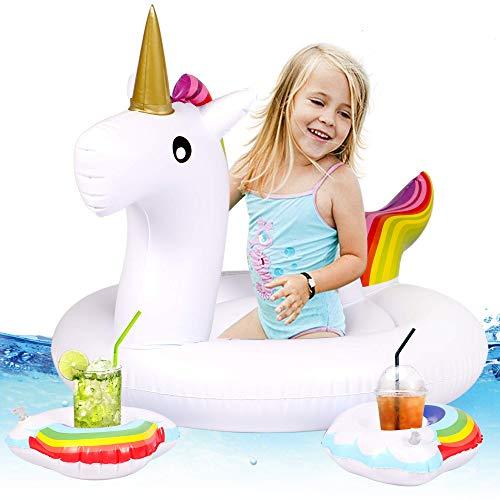 Tacobear Barca per Bebè Gonfiabili Piscina Baby Bambini Float Gonfiabile e Galleggiante per Mare e Piscina Gonfiabile Piscina Giocattolo con 2 portabicchieri (Unicorno)