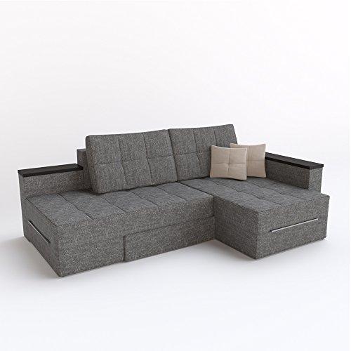Ecksofa mit Schlaffunktion Eckcouch Sofa Couch Schlafsofa Relax Funktion Grau (Rotationsfunktion: Links) - 2