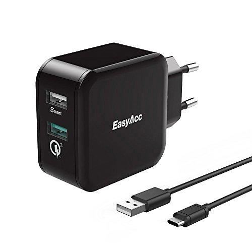 [Quick Charge 3.0] EasyAcc 30W Ladegerät 2 Port Smart Adapter mit 100cm Type-C Kable für Nexus 6P 5X und viele mehr