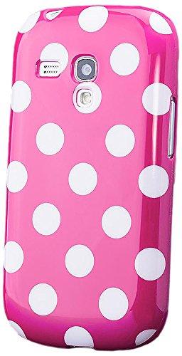 iCues Samsung Galaxy S3 MINI    Polka Dots TPU Case Pink   [Display Schutzfolie Inklusive] Damen Frauen Mädchen Silikon Gel Motiv Muster Schutzhülle Hülle Cover Schutz