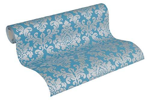 Thomas Vliestapete Tapete neo barock glamourös klassisch 10,05 m x 0,53 m blau/silber TLT017