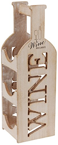 Viscio Trading Weinregal aus Holz, Vintage-Look, 3Flaschen, Einrichtungsdesign und Geschenkidee