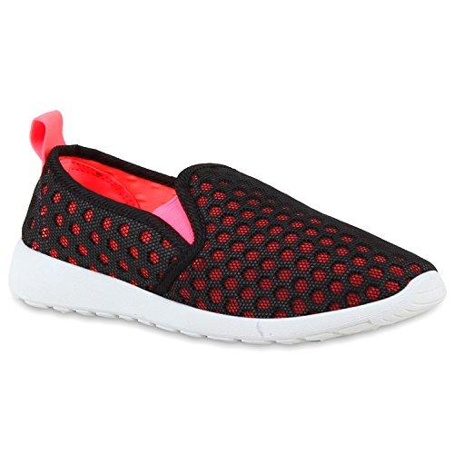 Sportliche Damen Slip-ons Bequeme Lightweight Slipper Sneakers Schwarz Pink