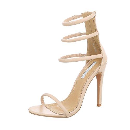 Ital-Design High Heel Sandaletten Damenschuhe High Heel Sandaletten Pfennig-/Stilettoabsatz High Heels Reißverschluss Sandalen & Sandaletten
