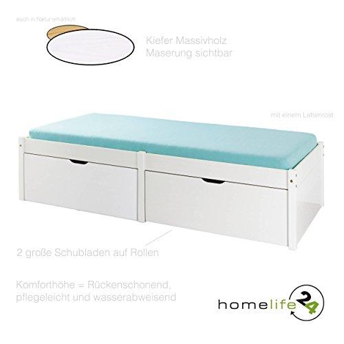 H24living Sehr schönes Bett 90 x 200 cm für Ihr Schlafzimmer Massivholz Kiefernholz weiß mit 2 große Schubladen und 1 Lattenrost