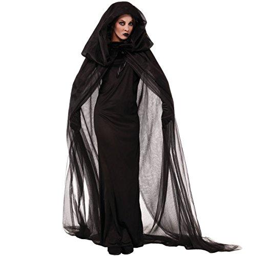 Fancyland Damen Schwarze Geisterbraut, Geisterbraut Böse Königin Lange Cosplay Kleid+ Lange Vampir Umhang mit Kapuze