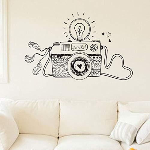67x42cm Creative Smile Light Bulb Camera Wall Stickers Design Cartoon Decorazione della casa Soggiorno Decalcomanie in vinile
