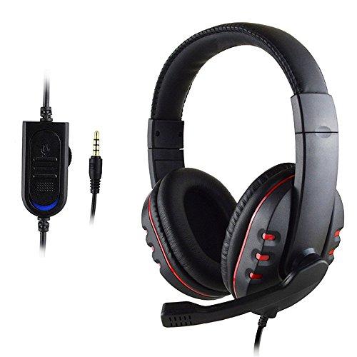 7Lucky Nouveau Casque de Jeu avec Commande vocale câblé, qualité sonore Hi-FI pour PS4, Noir (Rouge)