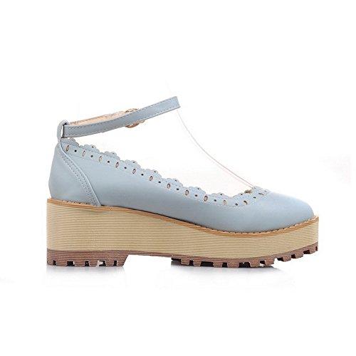 AllhqFashion Femme Matière Souple Rond à Talon Correct Boucle Couleur Unie Chaussures Légeres Bleu